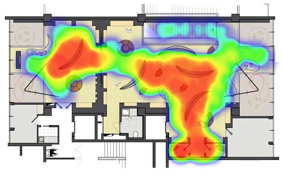 Тепловая карта по WiFi радарам